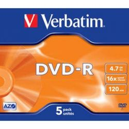 Verbatim DVD-R [ jewel case 5 | 4.7GB | 16x | matt ezüst ] DVD lemez (Adathordozó)