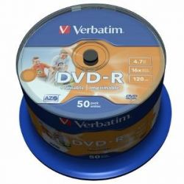 Verbatim DVD-R [ cake box 50db | 4,7GB | 16x | Wide nyomtatható ] DVD lemez