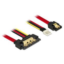 Delock Cable SATA 6 Gb/s 7pin receptacle+Floppy 4pin power male>SATA 22pin 30cm