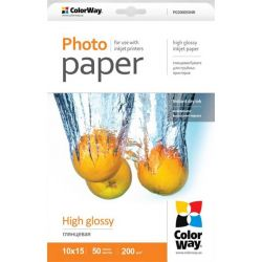 ColorWay PG2000504R magasfényű (high glossy), 200 g/m2, 10x15, 50 lap Fotópapír