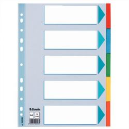 """ESSELTE """"Standard"""" A4 5 részes karton színes regiszter írható előlappal"""