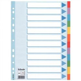 """ESSELTE """"Standard"""" A4 12 részes karton színes regiszter írható előlappal"""
