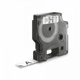 """DYMO """"D1"""" 12 mm x 5,5 m tartós poliészter fehér-fekete feliratozógép szalag"""