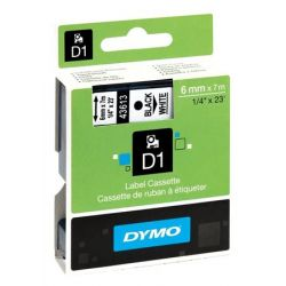 """DYMO """"D1"""" 6 mm x 7 m fehér-fekete feliratozógép szalag"""