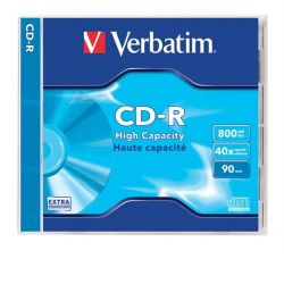 Verbatim 800MB, 90min, 40x, normál tok, CD-R lemez