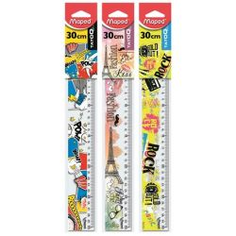 """MAPED """"Tatoo"""" 30 cm műanyag vonalzó vegyes mintákkal"""