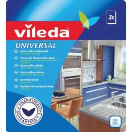 "VILEDA ""Universal"" (34x36 cm) 3db/csomag fehér-piros törlőkendő"
