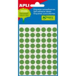 APLI 8 mm kör, kézzel írható, színes, APLI, zöld,Etikett  (288 etikett/csomag)