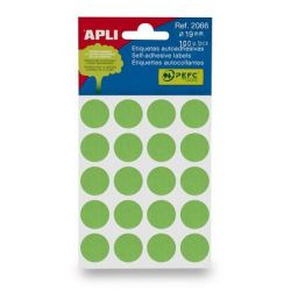 APLI  19 mm kör, kézzel írható, színes, Etikett  zöld (100 etikett/csomag)