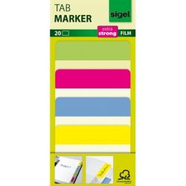 SIGEL 50x38 mm megerősített színes szélű vegyes színek jelölőcímke (4x5 db)