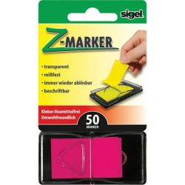 "SIGEL ""Z"" 25x45 mm műanyag rózsaszín jelölőcímke (50 lap)"
