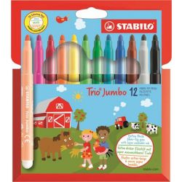 """STABILO """"Trio Jumbo"""" 3 mm 12 különböző színű filctoll készlet"""
