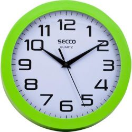 "SECCO ""Sweep second"" 24,5 cm zöld keretes falióra"