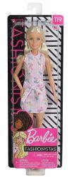 Mattel Barbie Fashionistas csíkos ruhában rózsaszín baba
