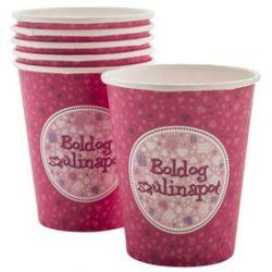REGIO FUN003 Boldog Születésnapot pohár pink (6 db)