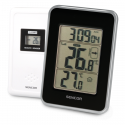 Sencor SWS 25 BS vezeték nélküli hőérzékelővel, fekete/ezüst időjárás állomás