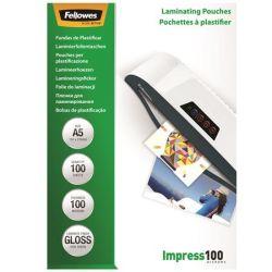 FELLOWES A5 100 mikron fényes meleglamináló fólia (100 db)
