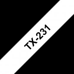 Brother TX-231 (12mm) - 15m fehér alapon fekete eredeti laminált P-touch szalag