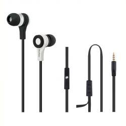 Qoltec 50808 mini-jack 3.5mm 1,2m fekete-fehér mikrofonos fülhallgató