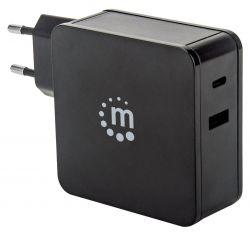 Manhattan 180054 Power Delivery USB-C 5V-20V max.45W USB-A 5V max. 2.4A fekete hálózati töltő