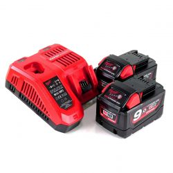 Milwaukee M18 NRG-902 2 x 9.0Ah 18V fekete-piros töltővel/akkumulátor szett