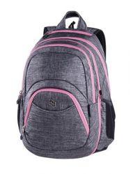 PULSE Teens Pink Gray 2in1 szürke-rózsaszín hátizsák notebook tartóval és audió csatlakozóval