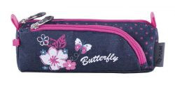 PULSE Flowers Butterfly kék-rózsaszín cipzáras tolltartó