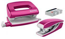 """Leitz """"Wow Mini"""" 10 lap, 50 mm fém rózsaszín tűzőgép és lyukasztó szett"""