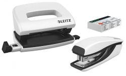 """Leitz """"Wow Mini"""" 10 lap, 50 mm fém fehér tűzőgép és lyukasztó szett"""