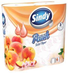 Sindy 3 rétegű 4 tekercses barack illatú fehér toalettpapír