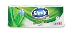 Sindy 3 rétegű 8+2 tekercses aloe vera illatú fehér toalettpapír