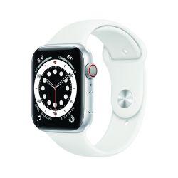 "Apple Watch Series 6 Oled 1.73"" 44mm GPS 4G ezüst házú fehér sportszíjas okosóra"