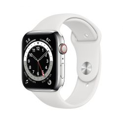 "Apple Watch Series 6 Oled 1.73"" 44mm GPS 4G fehér sportszíjas okosóra"