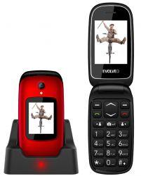 "Evolveo EASYPHONE FD EP700 2.4"" / 1.77"" Dual SIM piros mobiltelefon"