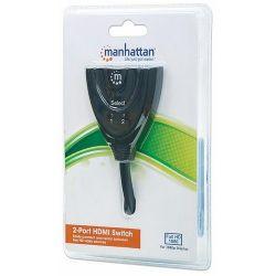 Manhattan HDMI switch 2/1, 2x input 1x output, 1080p integrated cable (Audio-Video elosztó)