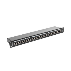 Lanberg 24 port 1U, cat. 5e, árnyékolt fekete patch panel