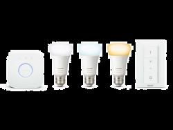 Philips Hue White Ambiance 9.5W / 60W A60 E27 2200–6500 K 3db fehér szabályozható LED izzó + bridge + fényerő-szabályozó kapcsoló