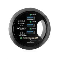Delock (61991) asztali 3 portos USB 3.0 Hub + 2 x SD kártyaolvasó