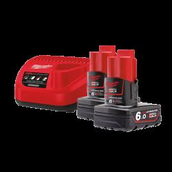 Milwaukee M12 NRG-602 2 x 6.0Ah 12V fekete-piros töltővel/akkumulátor szett