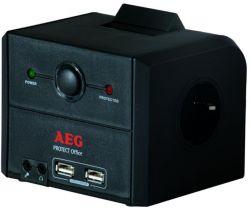 AEG Protect Office 3x Schuko, 2x USB, 2x Jack, 3x RJ45 fekete túlfeszültségvédő