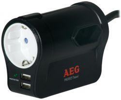 AEG Protect Travel 1+ 2 Schuko, 2x USB fekete túlfeszültségvédő