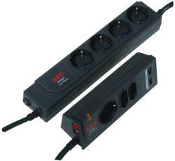 AEG TwinPower 5+2 Schuko+Euro, 2x USB fekete túlfeszültségvédő