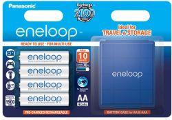 Panasonic Eneloop AA 1900mAh NIMH (4 db) Újratölthető elem (+ elemtároló tok)