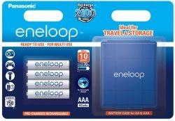 Panasonic Eneloop AAA 750mAh NIMH (4 db) Újratölthető elem (+ elemtároló tok)
