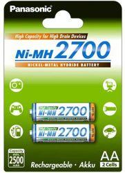 Panasonic Ni-MH 2700 High Capacity AA 2500mAh (2 db) Újratölthető elem