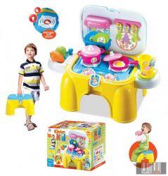G21 008-98 sárga-kék gyermekkonyha ülőkével