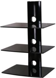 Art STO DV-03 edzett üveg, alumínium fekete tuner, dekóder polc