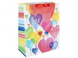 MTS 68530 (18 x 23 cm) színes szív lufik papírtasak