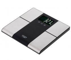 Adler AD 8165 LCD, max. 225 kg fekete-ezüst fürdőszobai mérleg analizátorral