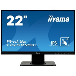 "Iiyama T2252MSC-B1 22"" FHD IPS VGA, DVI-D, USB fekete LED monitor"